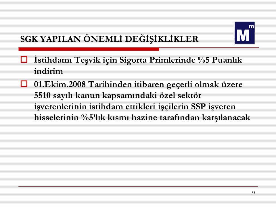 9 SGK YAPILAN ÖNEMLİ DEĞİŞİKLİKLER  İstihdamı Teşvik için Sigorta Primlerinde %5 Puanlık indirim  01.Ekim.2008 Tarihinden itibaren geçerli olmak üze