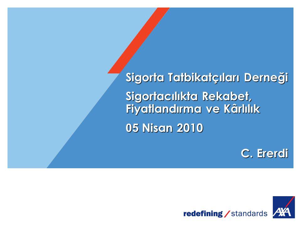 Sigorta Tatbikatçılar ı Derneği Sigortacılıkta Rekabet, Fiyatlandırma ve Kârlılık 05 Nisan 2010 C. Ererdi