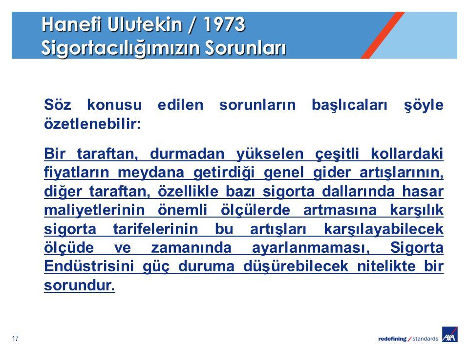 17 Hanefi Ulutekin / 1973 Sigortacılığımızın Sorunları Söz konusu edilen sorunların başlıcaları şöyle özetlenebilir: Bir taraftan, durmadan yükselen ç