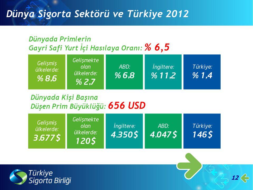 12 Dünyada Primlerin Gayri Safi Yurt İçi Hasılaya Oranı: % 6,5 Dünyada Kişi Başına Düşen Prim Büyüklüğü: 656 USD Dünya Sigorta Sektörü ve Türkiye 2012