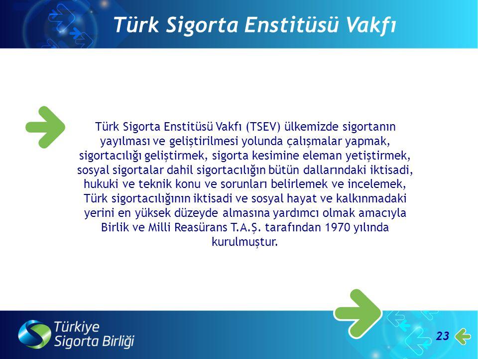 23 Türk Sigorta Enstitüsü Vakfı Türk Sigorta Enstitüsü Vakfı (TSEV) ülkemizde sigortanın yayılması ve geliştirilmesi yolunda çalışmalar yapmak, sigort