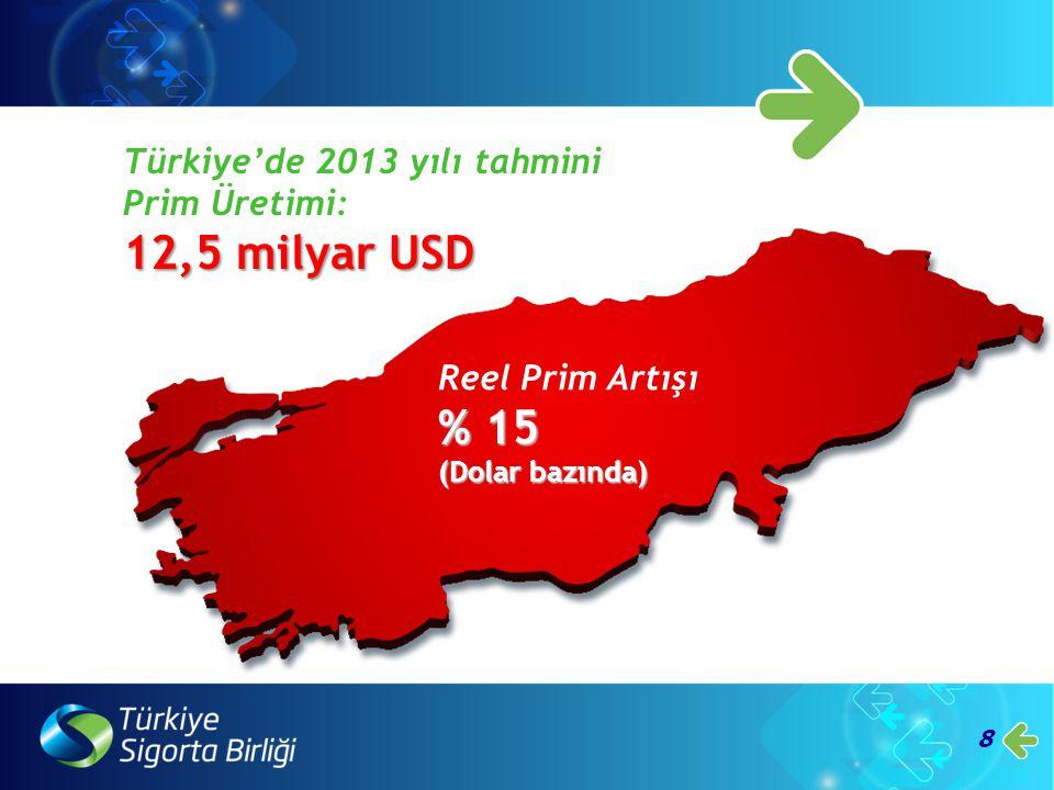 8 Türkiye'de 2013 yılı tahmini Prim Üretimi: 12,5 milyar USD Reel Prim Artışı % 15 (Dolar bazında)