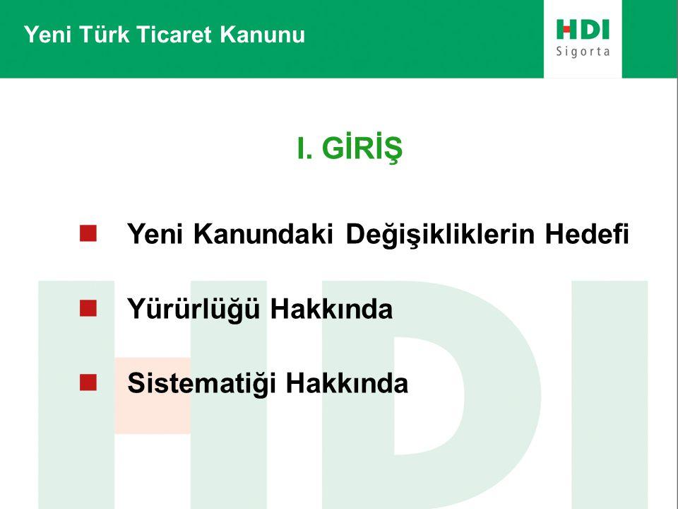 I. GİRİŞ  Yeni Kanundaki Değişikliklerin Hedefi  Yürürlüğü Hakkında  Sistematiği Hakkında Yeni Türk Ticaret Kanunu