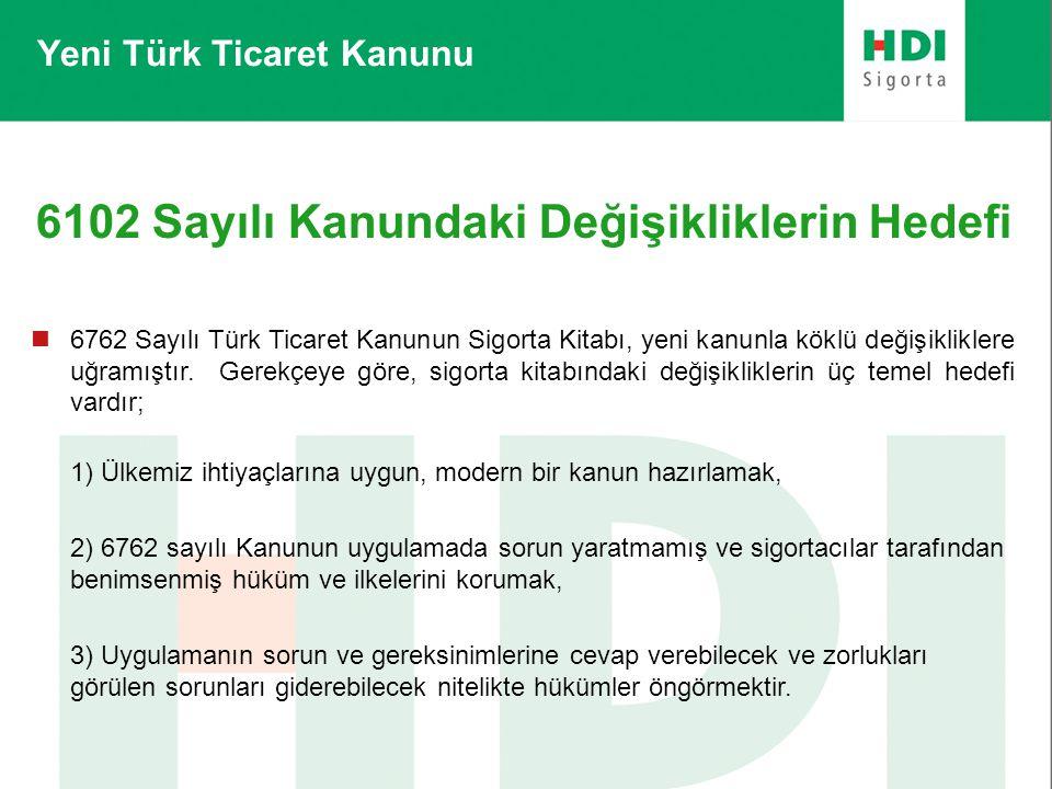 6102 Sayılı Kanundaki Değişikliklerin Hedefi  6762 Sayılı Türk Ticaret Kanunun Sigorta Kitabı, yeni kanunla köklü değişikliklere uğramıştır. Gerekçey