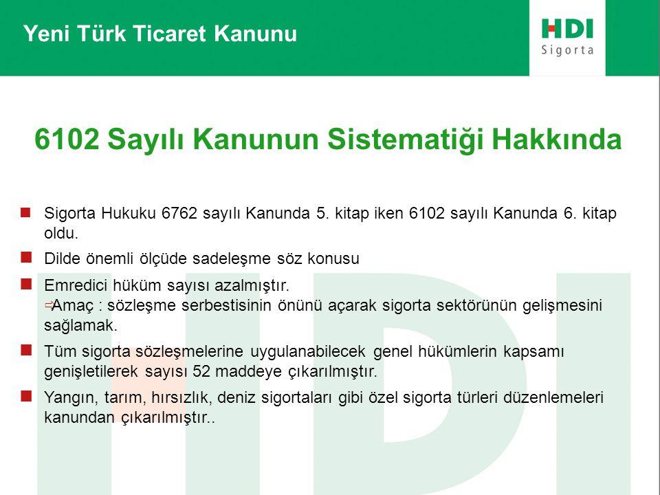 Yeni Türk Ticaret Kanunu 6102 Sayılı Kanunun Sistematiği Hakkında  Sigorta Hukuku 6762 sayılı Kanunda 5. kitap iken 6102 sayılı Kanunda 6. kitap oldu