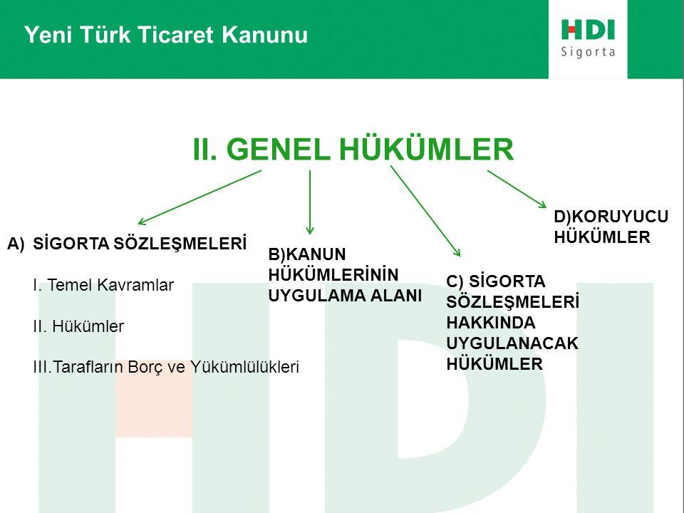 Yeni Türk Ticaret Kanunu II. GENEL HÜKÜMLER A)SİGORTA SÖZLEŞMELERİ I. Temel Kavramlar II. Hükümler III.Tarafların Borç ve Yükümlülükleri B)KANUN HÜKÜM