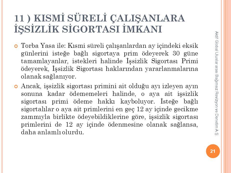 11 ) KISMİ SÜRELİ ÇALIŞANLARA İŞSİZLİK SİGORTASI İMKANI Torba Yasa ile: Kısmi süreli çalışanlardan ay içindeki eksik günlerini isteğe bağlı sigortaya