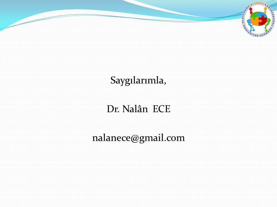 Saygılarımla, Dr. Nalân ECE nalanece@gmail.com