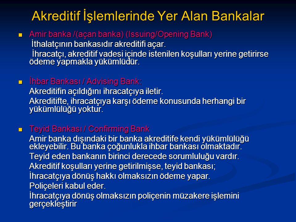 Akreditif İşlemlerinde Yer Alan Bankalar  Amir banka /(açan banka) (Issuing/Opening Bank) İthalatçının bankasıdır akreditifi açar. İthalatçının banka