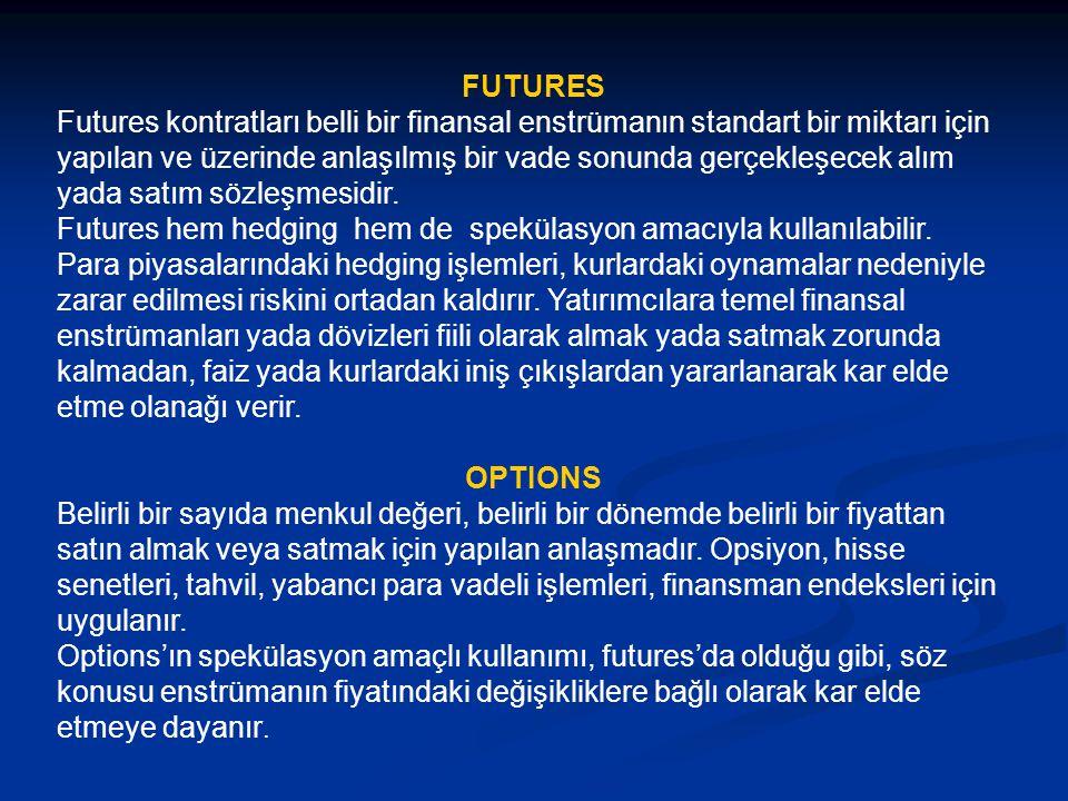 FUTURES Futures kontratları belli bir finansal enstrümanın standart bir miktarı için yapılan ve üzerinde anlaşılmış bir vade sonunda gerçekleşecek alı