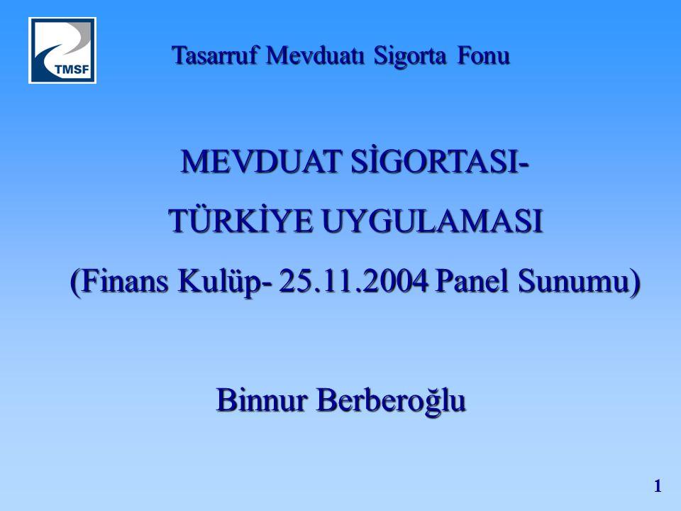 Tasarruf Mevduatı Sigorta Fonu 1 MEVDUAT SİGORTASI- TÜRKİYE UYGULAMASI (Finans Kulüp- 25.11.2004 Panel Sunumu) Binnur Berberoğlu