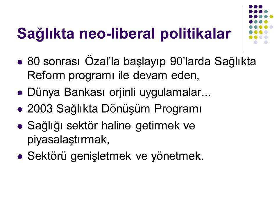 Sağlıkta neo-liberal politikalar  80 sonrası Özal'la başlayıp 90'larda Sağlıkta Reform programı ile devam eden,  Dünya Bankası orjinli uygulamalar...