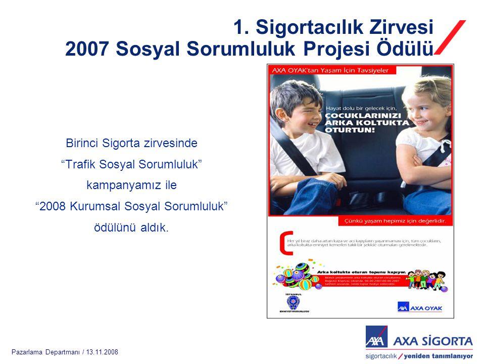 """Pazarlama Departmanı / 13.11.2008 1. Sigortacılık Zirvesi 2007 Sosyal Sorumluluk Projesi Ödülü Birinci Sigorta zirvesinde """"Trafik Sosyal Sorumluluk"""" k"""