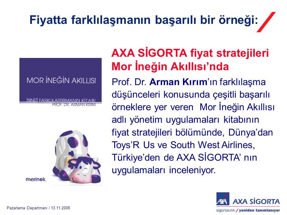 Pazarlama Departmanı / 13.11.2008 Prof. Dr. Arman Kırım'ın farklılaşma düşünceleri konusunda çeşitli başarılı örneklere yer veren Mor İneğin Akıllısı
