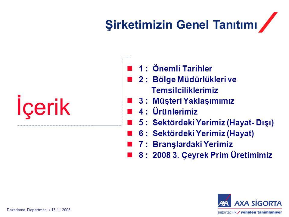 Pazarlama Departmanı / 13.11.2008 İçerik Şirketimizin Genel Tanıtımı  1 : Önemli Tarihler  2 : Bölge Müdürlükleri ve Temsilciliklerimiz  3 : Müşteri Yaklaşımımız  4 : Ürünlerimiz  5 : Sektördeki Yerimiz (Hayat- Dışı)  6 : Sektördeki Yerimiz (Hayat)  7 : Branşlardaki Yerimiz  8 : 2008 3.