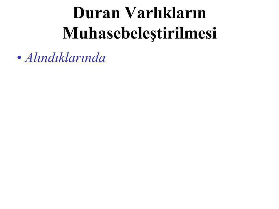Duran Varlıkların Muhasebeleştirilmesi Alındıklarında, yapıldıklarında, veya elde edildiklerinde...