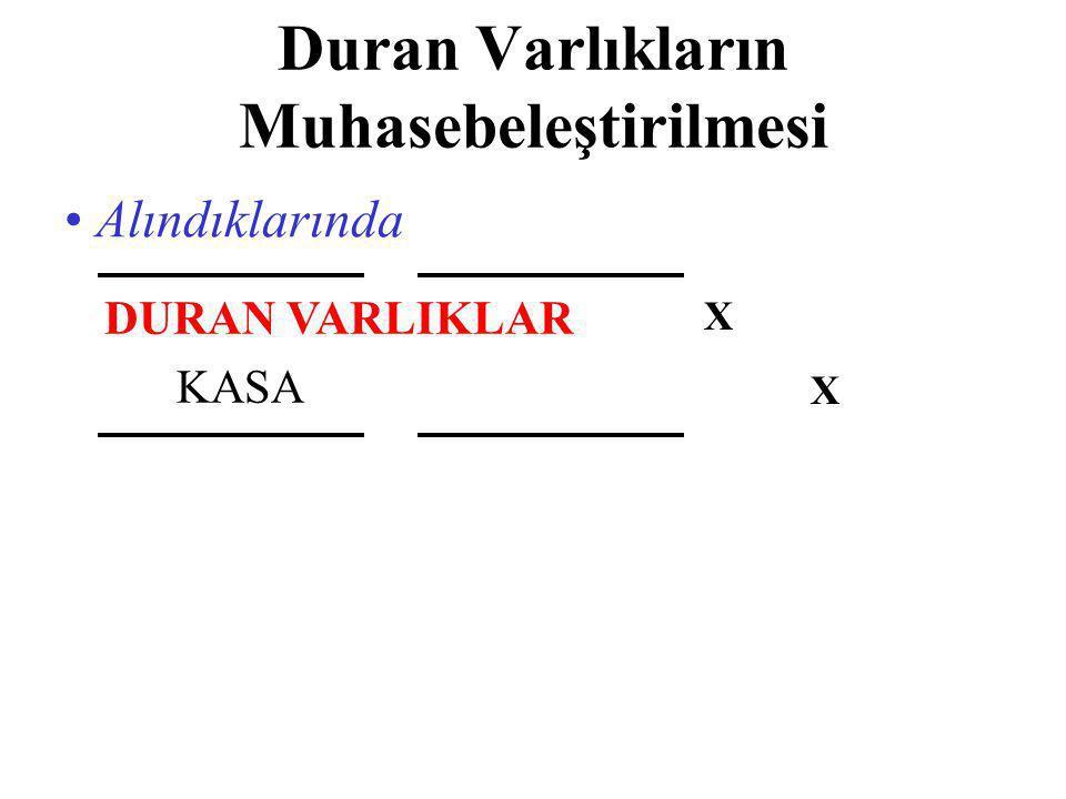 Duran Varlıkların Muhasebeleştirilmesi • Alındıklarında