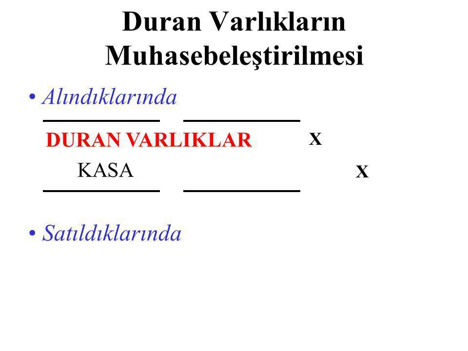 Duran Varlıkların Muhasebeleştirilmesi • Alındıklarında DURAN VARLIKLAR KASA XXXX