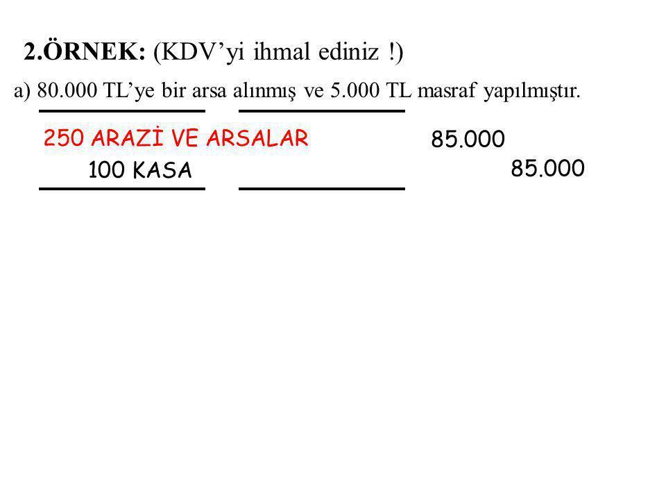 a) 80.000 TL'ye bir arsa alınmış ve 5.000 TL masraf yapılmıştır.