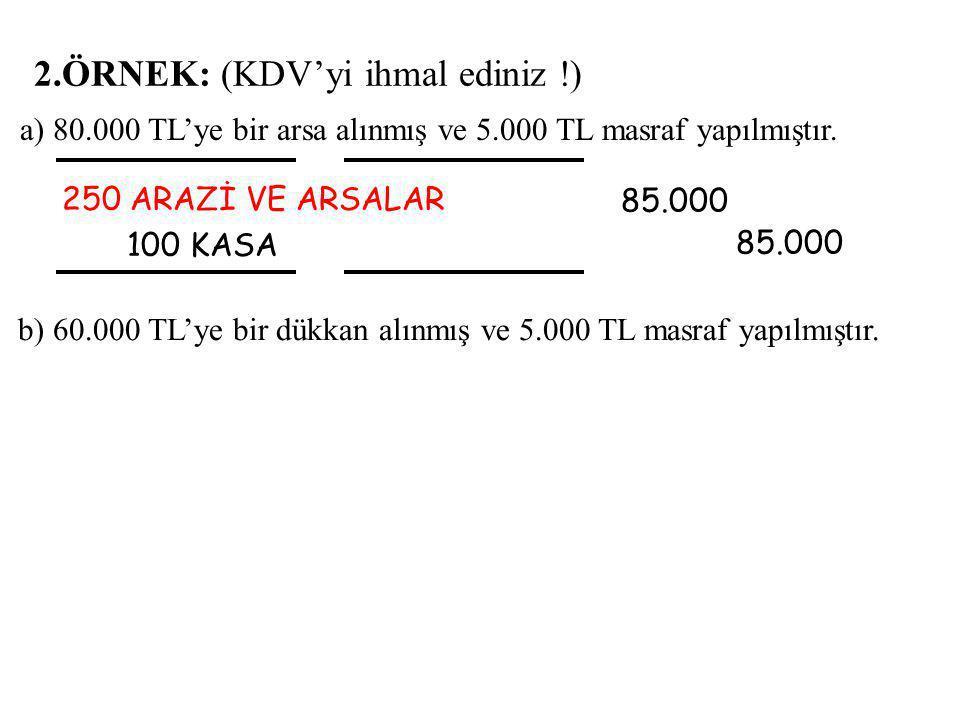 2.ÖRNEK: (KDV'yi ihmal ediniz !) 250 ARAZİ VE ARSALAR 100 KASA 85.000 85.000 a) 80.000 TL'ye bir arsa alınmış ve 5.000 TL masraf yapılmıştır.