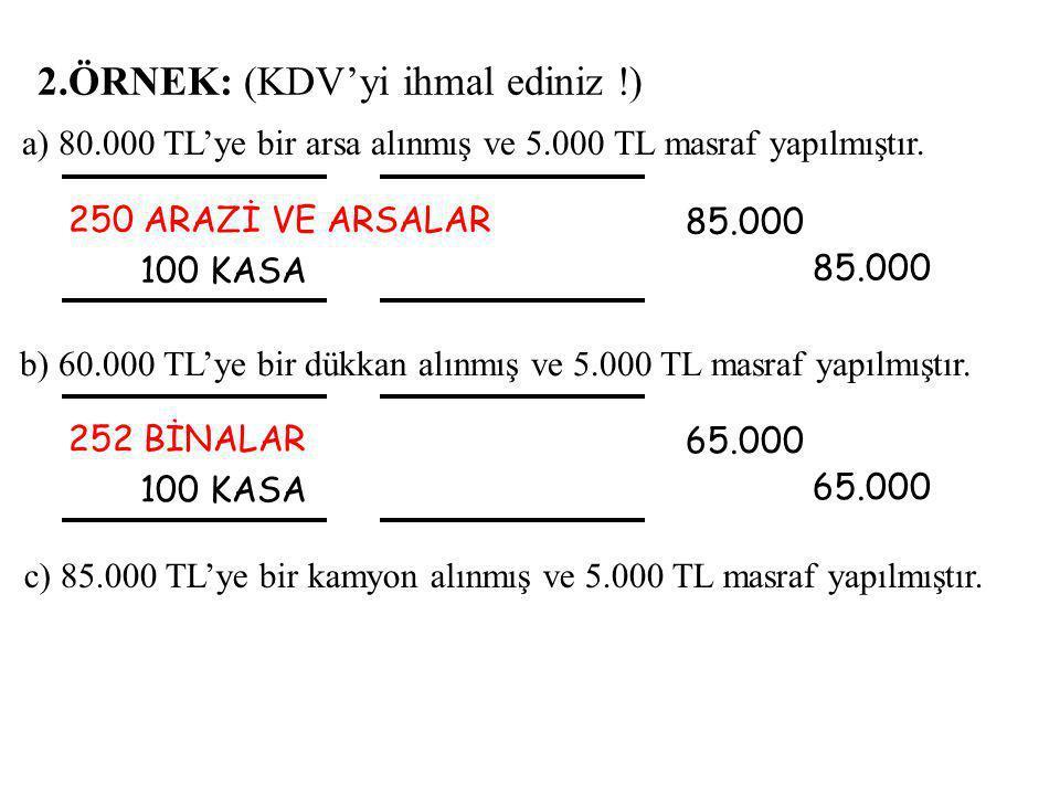 2.ÖRNEK: (KDV'yi ihmal ediniz !) 250 ARAZİ VE ARSALAR 100 KASA 85.000 85.000 b) 60.000 TL'ye bir dükkan alınmış ve 5.000 TL masraf yapılmıştır.