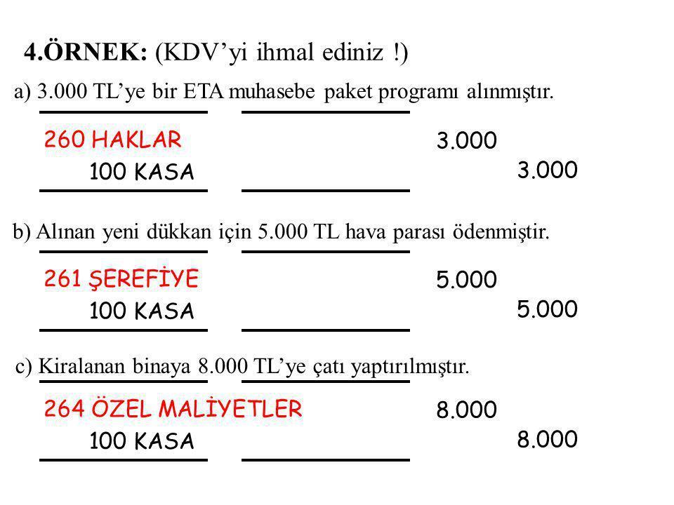 4.ÖRNEK: (KDV'yi ihmal ediniz !) 260 HAKLAR 100 KASA 3.000 3.000 b) Alınan yeni dükkan için 5.000 TL hava parası ödenmiştir.