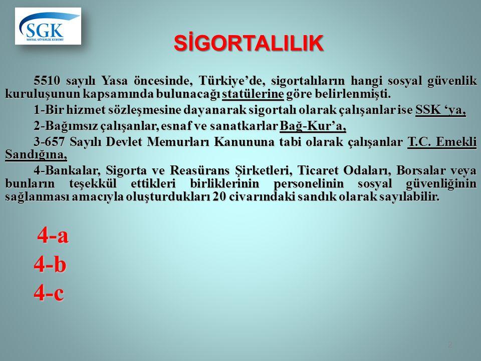 SİGORTALILIK 5510 sayılı Yasa öncesinde, Türkiye'de, sigortalıların hangi sosyal güvenlik kuruluşunun kapsamında bulunacağı statülerine göre belirlenmişti.