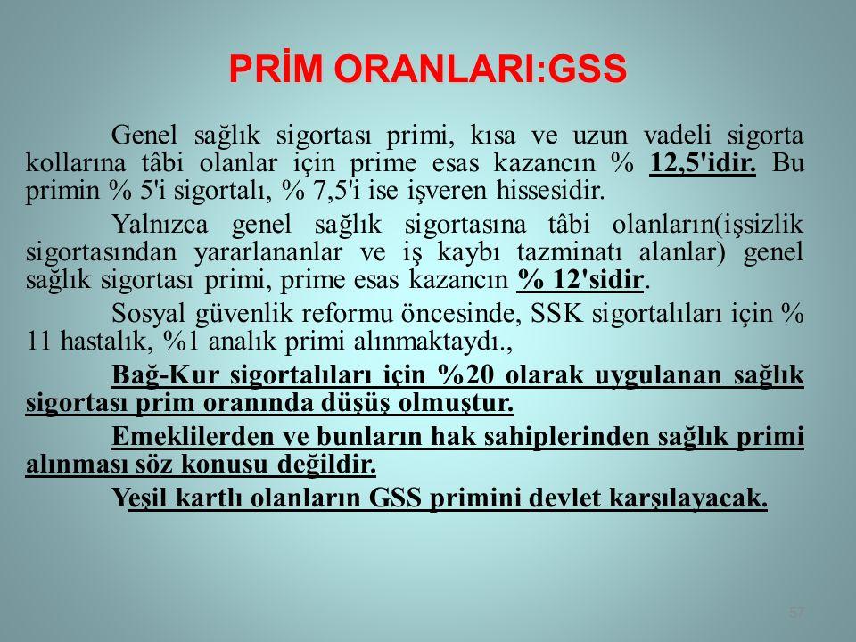 PRİM ORANLARI:GSS Genel sağlık sigortası primi, kısa ve uzun vadeli sigorta kollarına tâbi olanlar için prime esas kazancın % 12,5 idir.