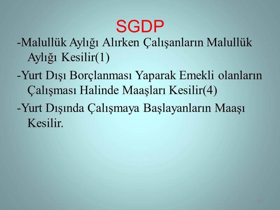 SGDP -Malullük Aylığı Alırken Çalışanların Malullük Aylığı Kesilir(1) -Yurt Dışı Borçlanması Yaparak Emekli olanların Çalışması Halinde Maaşları Kesilir(4) -Yurt Dışında Çalışmaya Başlayanların Maaşı Kesilir.