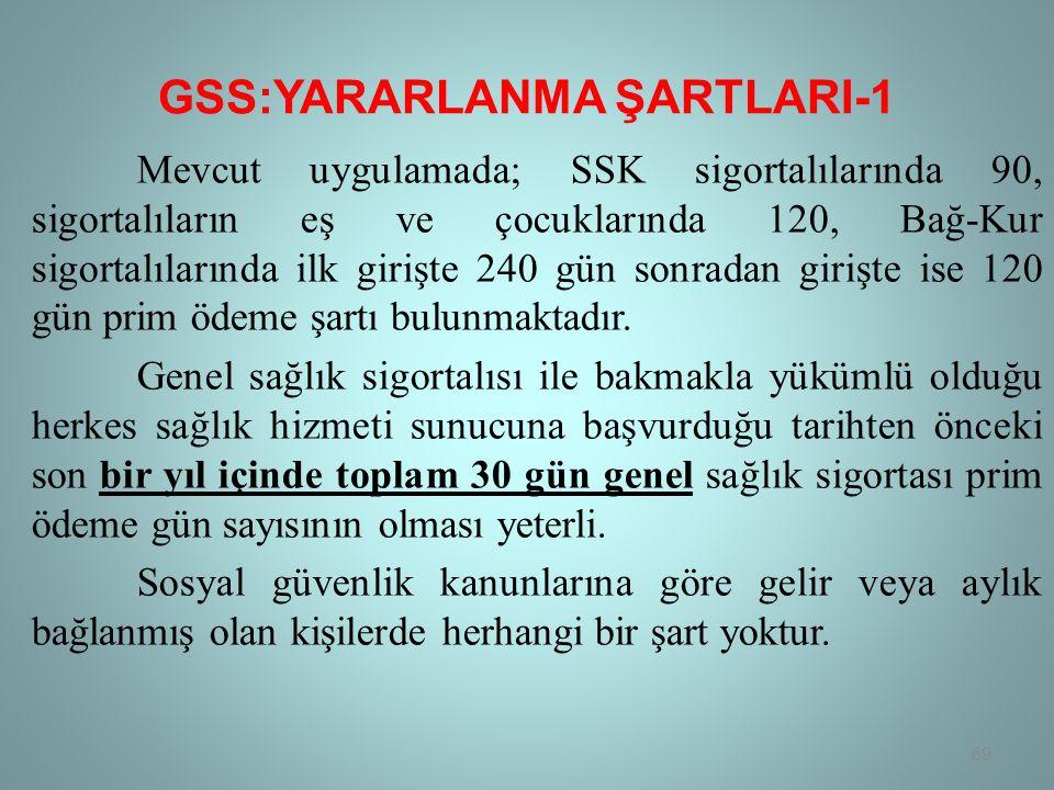 GSS:YARARLANMA ŞARTLARI-1 Mevcut uygulamada; SSK sigortalılarında 90, sigortalıların eş ve çocuklarında 120, Bağ-Kur sigortalılarında ilk girişte 240 gün sonradan girişte ise 120 gün prim ödeme şartı bulunmaktadır.