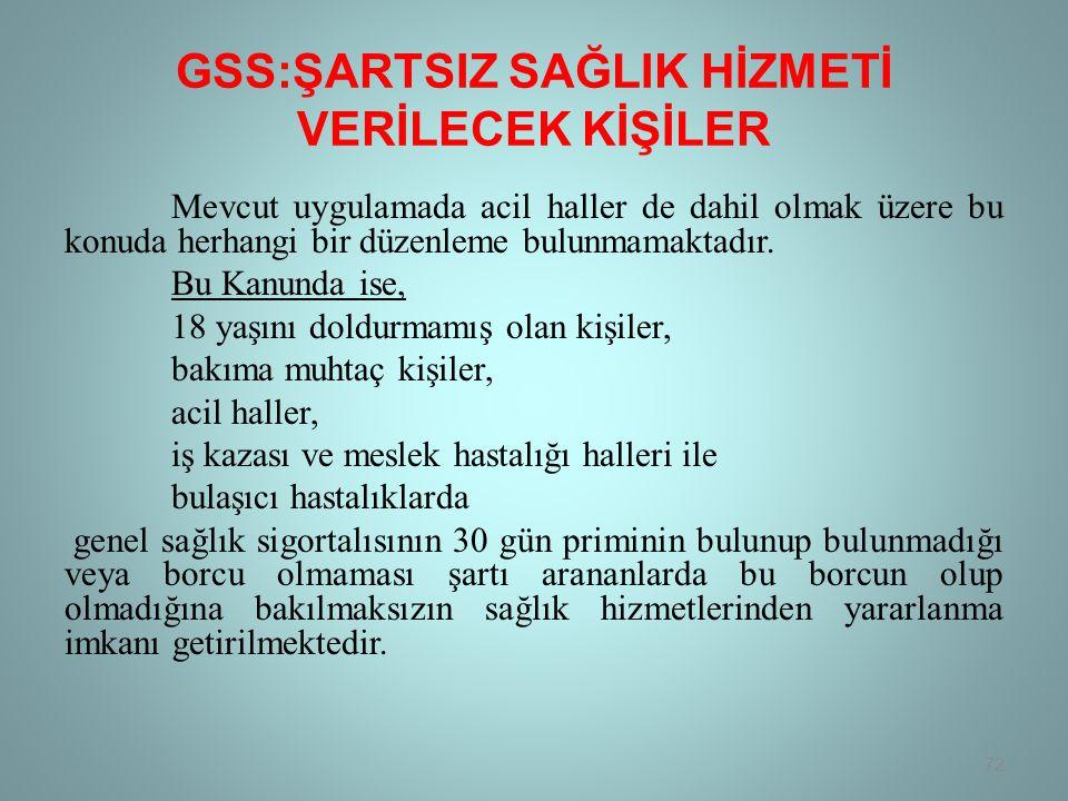 GSS:ŞARTSIZ SAĞLIK HİZMETİ VERİLECEK KİŞİLER Mevcut uygulamada acil haller de dahil olmak üzere bu konuda herhangi bir düzenleme bulunmamaktadır.