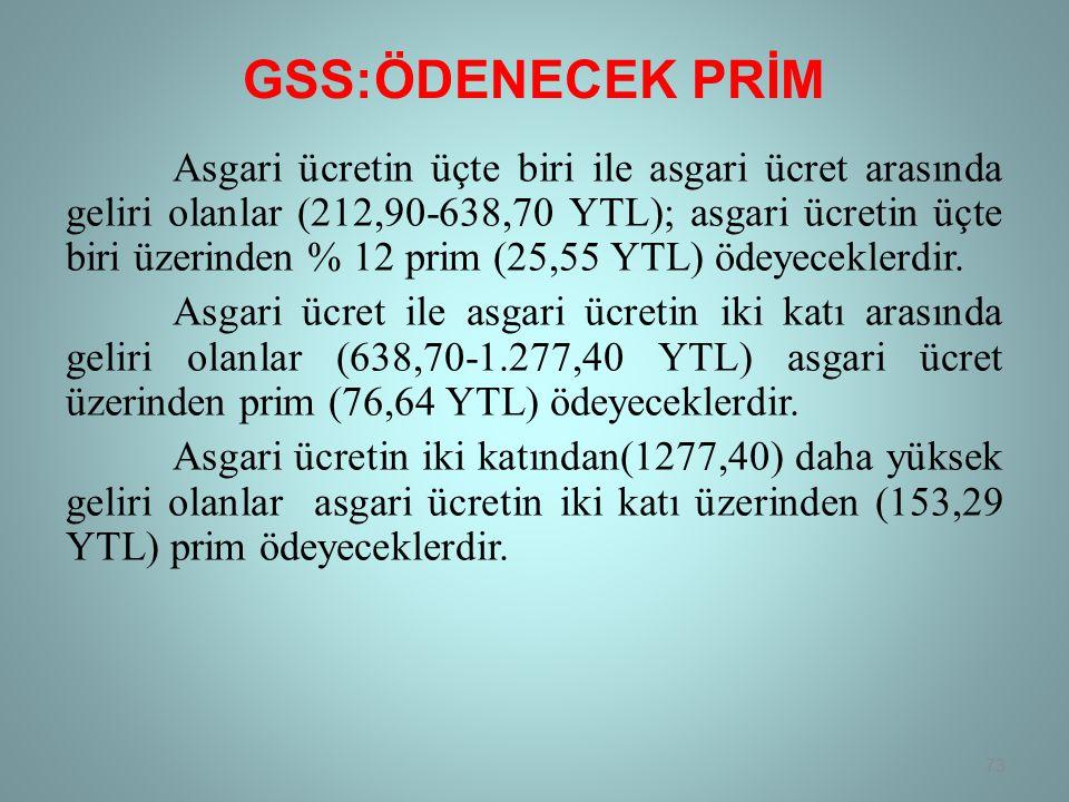 GSS:ÖDENECEK PRİM Asgari ücretin üçte biri ile asgari ücret arasında geliri olanlar (212,90-638,70 YTL); asgari ücretin üçte biri üzerinden % 12 prim (25,55 YTL) ödeyeceklerdir.