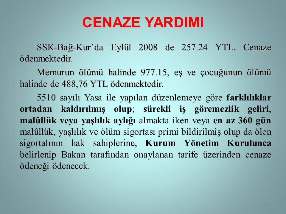 CENAZE YARDIMI SSK-Bağ-Kur'da Eylül 2008 de 257.24 YTL.