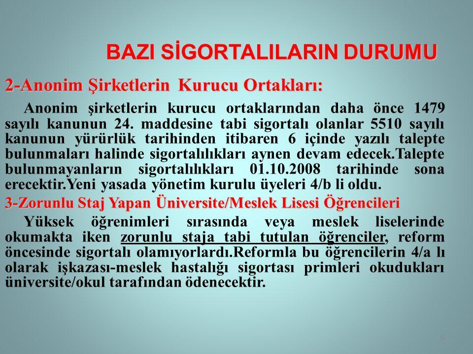 BAZI SİGORTALILARIN DURUMU 4-Yurt Dışına Götürülecek İşçiler Ülkemiz ile sosyal güvenlik sözleşmesi olmayan ülkelerde iş üstlenen işverenlerce yurt dışındaki işyerlerinde çalıştırılmak üzere götürülen Türk işçileri 4/a bendi kapsamında sigortalı sayılır ve bunlar hakkında kısa vadeli sigorta kolları ile genel sağlık sigortası hükümleri uygulanır.