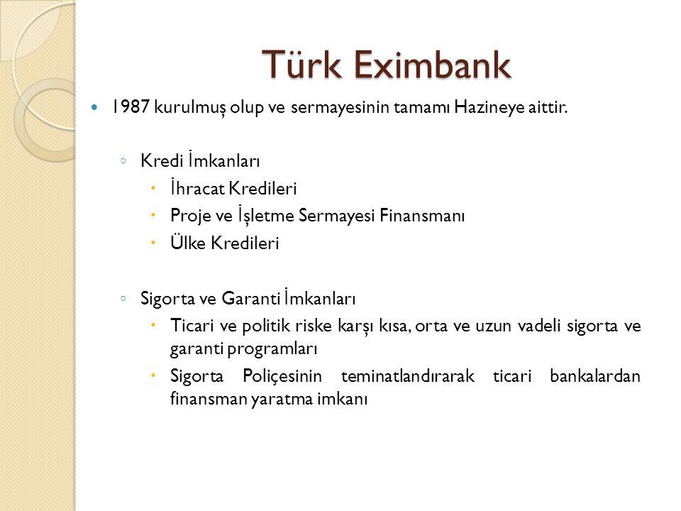 Türk Eximbank  1987 kurulmuş olup ve sermayesinin tamamı Hazineye aittir. ◦ Kredi İ mkanları  İ hracat Kredileri  Proje ve İ şletme Sermayesi Finan