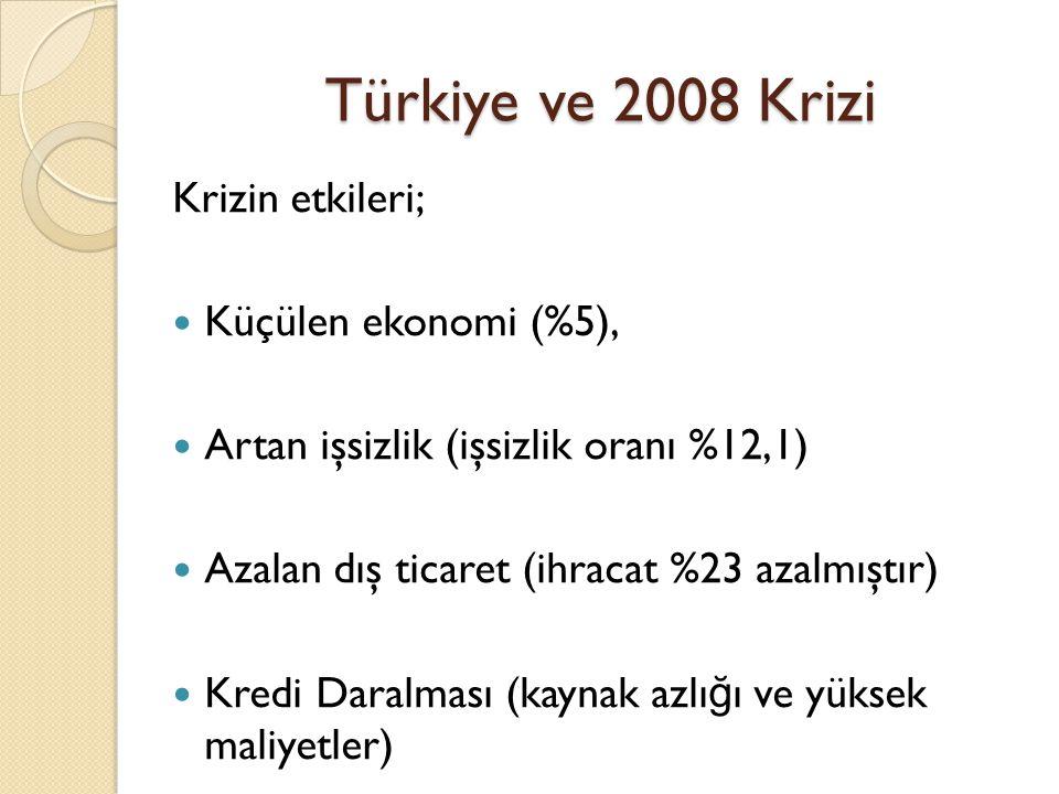 Türkiye ve 2008 Krizi Krizin etkileri;  Küçülen ekonomi (%5),  Artan işsizlik (işsizlik oranı %12,1)  Azalan dış ticaret (ihracat %23 azalmıştır) 