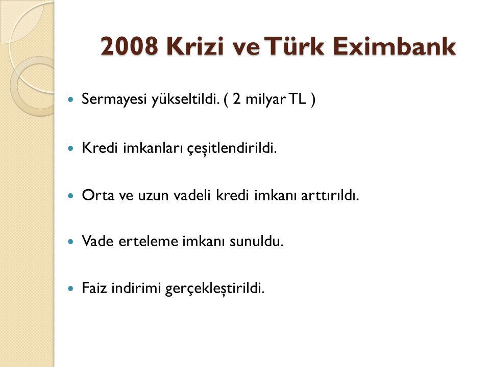 2008 Krizi ve Türk Eximbank  Sermayesi yükseltildi. ( 2 milyar TL )  Kredi imkanları çeşitlendirildi.  Orta ve uzun vadeli kredi imkanı arttırıldı.