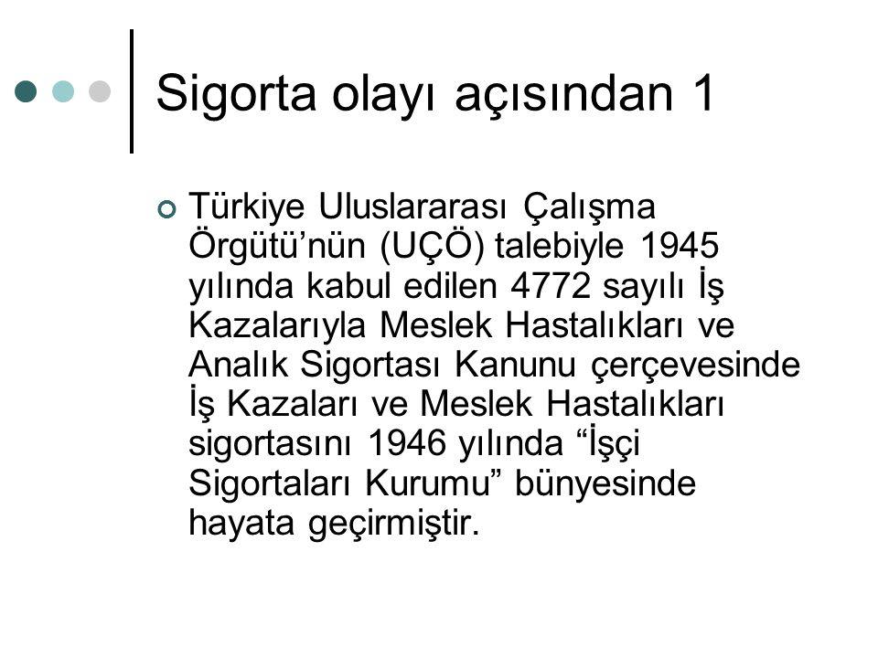 Sigorta olayı açısından 1 Türkiye Uluslararası Çalışma Örgütü'nün (UÇÖ) talebiyle 1945 yılında kabul edilen 4772 sayılı İş Kazalarıyla Meslek Hastalık
