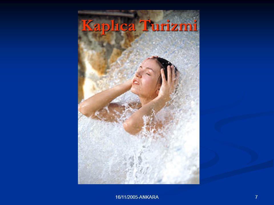 816/11/2005-ANKARA Kaplıca Turizmi Kaplıcalardan yararlanmak amacıyla yapılan seyahatler; 1.