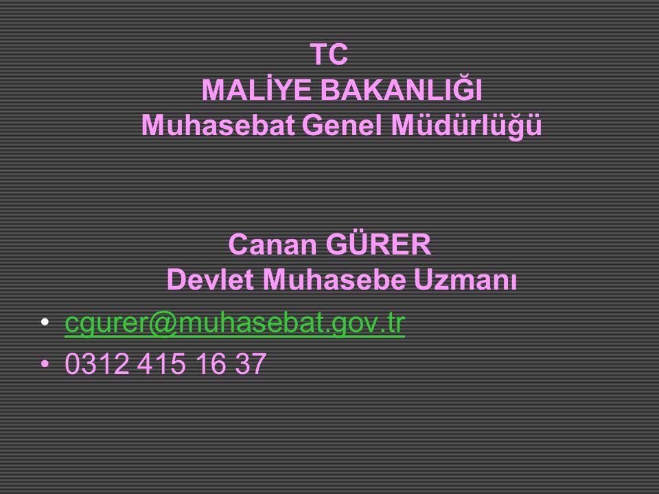 TC MALİYE BAKANLIĞI Muhasebat Genel Müdürlüğü Canan GÜRER Devlet Muhasebe Uzmanı •cgurer@muhasebat.gov.trcgurer@muhasebat.gov.tr •0312 415 16 37