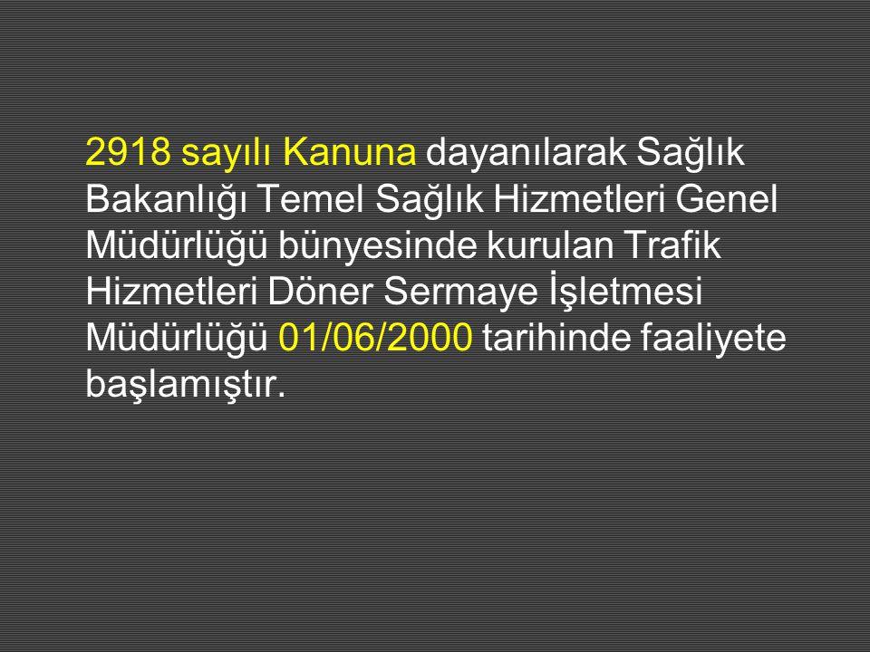2918 sayılı Kanuna dayanılarak Sağlık Bakanlığı Temel Sağlık Hizmetleri Genel Müdürlüğü bünyesinde kurulan Trafik Hizmetleri Döner Sermaye İşletmesi M