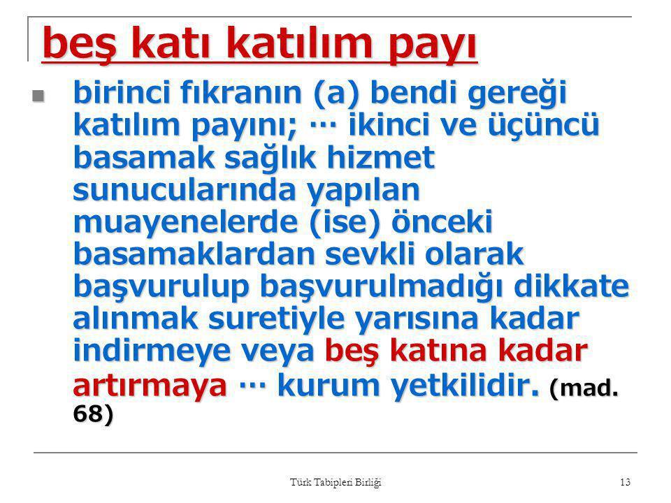 Türk Tabipleri Birliği 13 beş katı katılım payı  birinci fıkranın (a) bendi gereği katılım payını; … ikinci ve üçüncü basamak sağlık hizmet sunucular