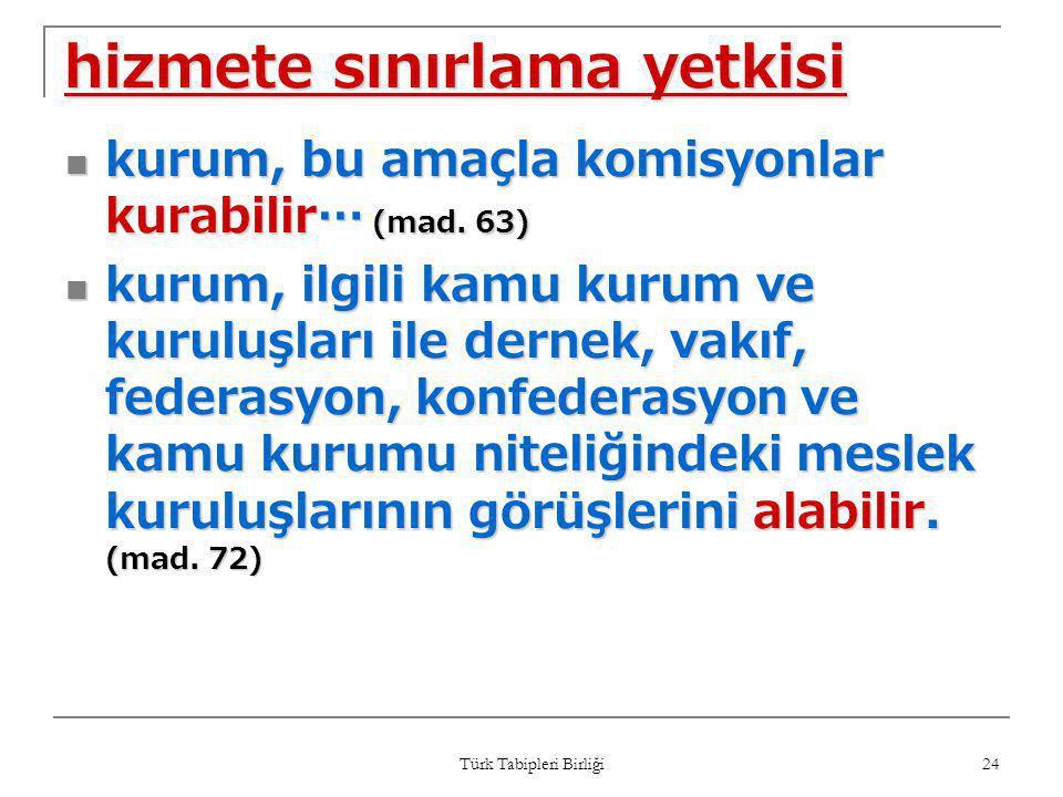 Türk Tabipleri Birliği 24 hizmete sınırlama yetkisi  kurum, bu amaçla komisyonlar kurabilir… (mad. 63)  kurum, ilgili kamu kurum ve kuruluşları ile