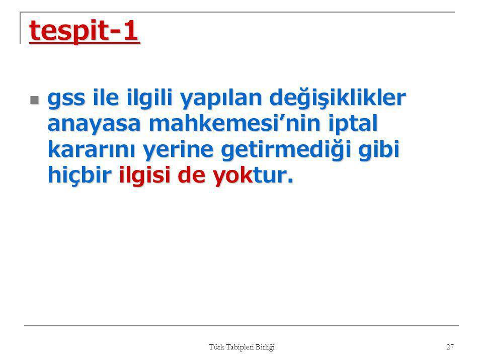 Türk Tabipleri Birliği 27 tespit-1  gss ile ilgili yapılan değişiklikler anayasa mahkemesi'nin iptal kararını yerine getirmediği gibi hiçbir ilgisi d