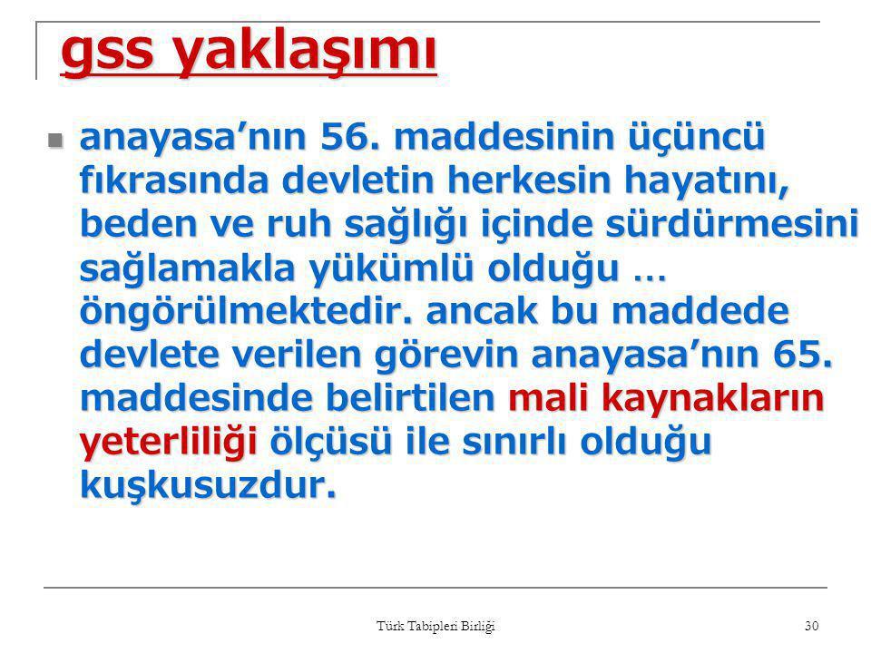 Türk Tabipleri Birliği 30 gss yaklaşımı  anayasa'nın 56. maddesinin üçüncü fıkrasında devletin herkesin hayatını, beden ve ruh sağlığı içinde sürdürm