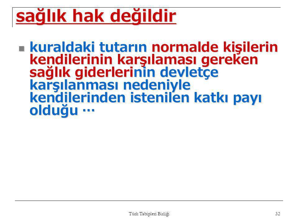 Türk Tabipleri Birliği 32 sağlık hak değildir  kuraldaki tutarın normalde kişilerin kendilerinin karşılaması gereken sağlık giderlerinin devletçe kar