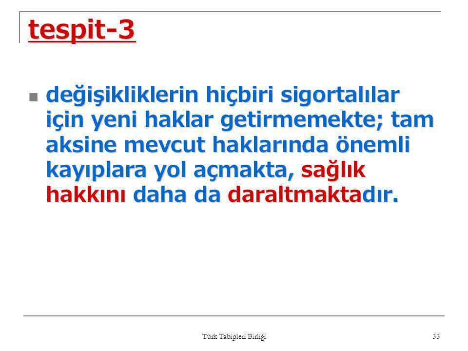 Türk Tabipleri Birliği 33 tespit-3  değişikliklerin hiçbiri sigortalılar için yeni haklar getirmemekte; tam aksine mevcut haklarında önemli kayıplara