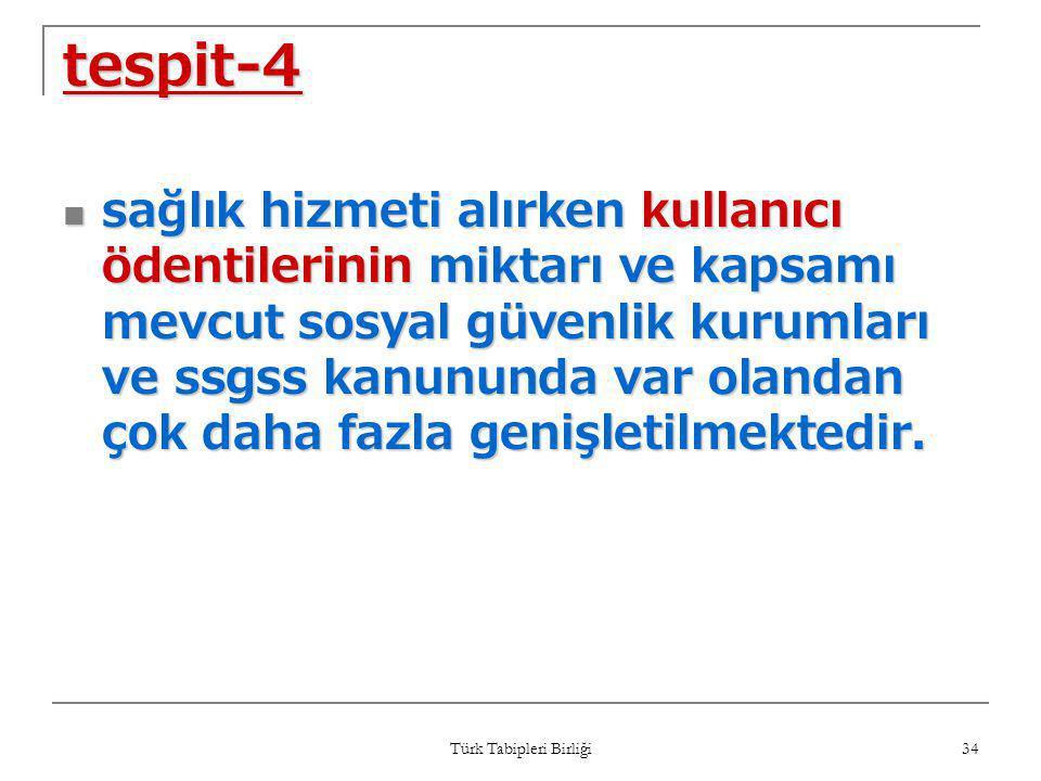 Türk Tabipleri Birliği 34 tespit-4  sağlık hizmeti alırken kullanıcı ödentilerinin miktarı ve kapsamı mevcut sosyal güvenlik kurumları ve ssgss kanun