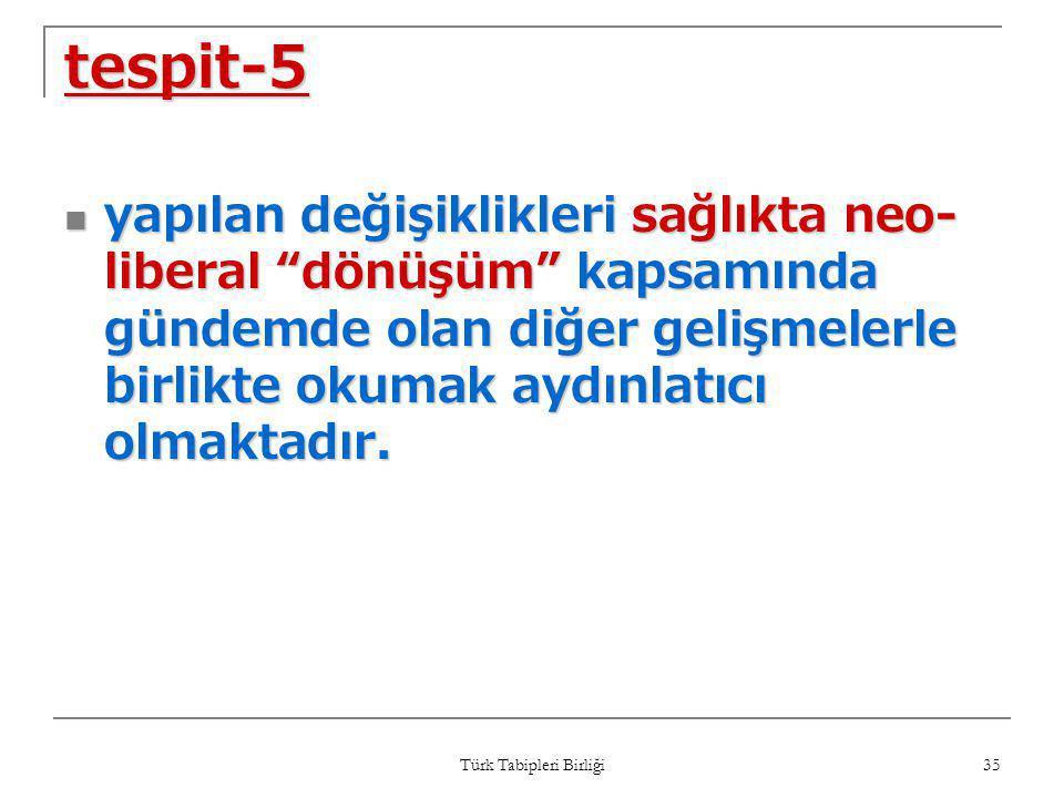 """Türk Tabipleri Birliği 35 tespit-5  yapılan değişiklikleri sağlıkta neo- liberal """"dönüşüm"""" kapsamında gündemde olan diğer gelişmelerle birlikte okuma"""