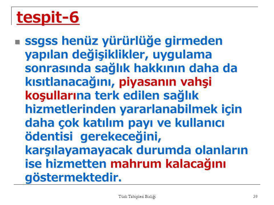 Türk Tabipleri Birliği 39 tespit-6  ssgss henüz yürürlüğe girmeden yapılan değişiklikler, uygulama sonrasında sağlık hakkının daha da kısıtlanacağını